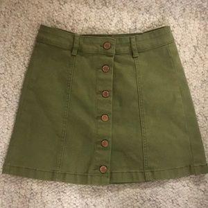 Olive Green Button Down Denim Skirt